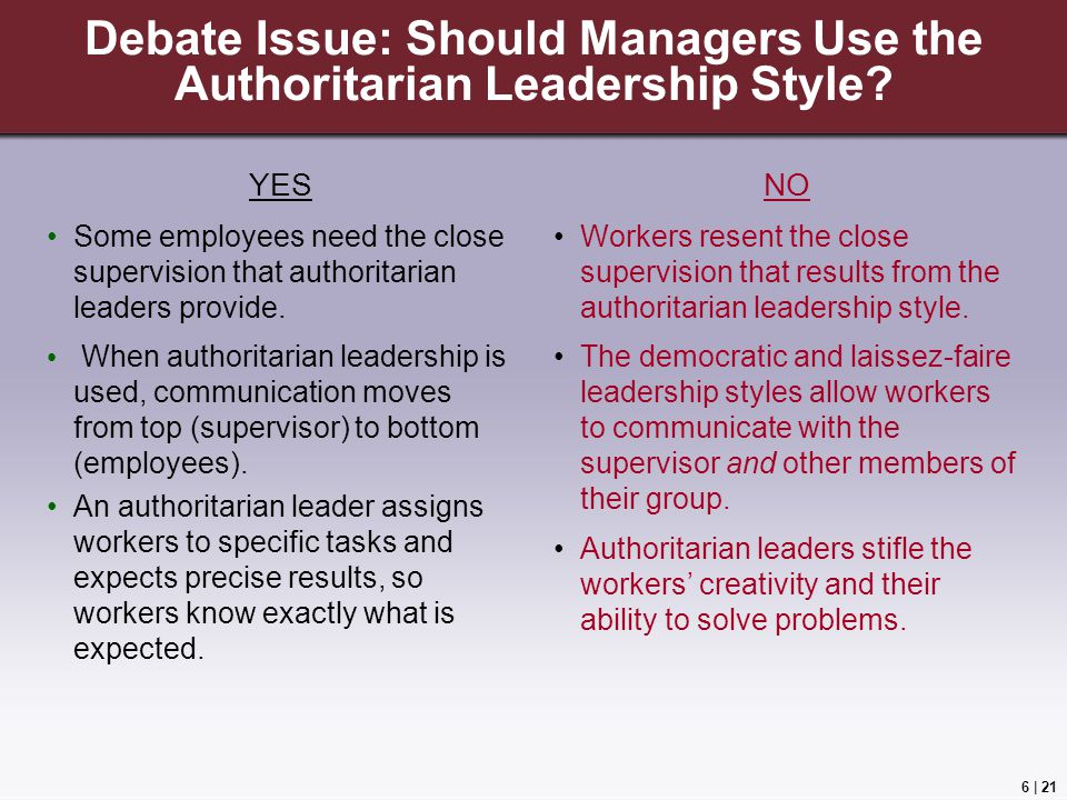 6 | 21 Debate Issue: Should Managers Use the Authoritarian Leadership Style.