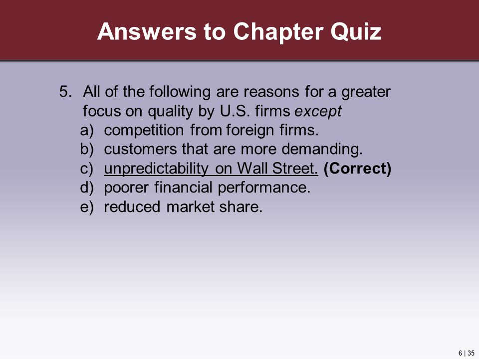 6 | 35 Answers to Chapter Quiz 5.All of the following are reasons for a greater focus on quality by U.S.