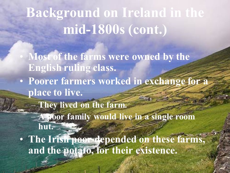 Background on Ireland in the mid-1800s (cont.) Most of the farms were owned by the English ruling class.