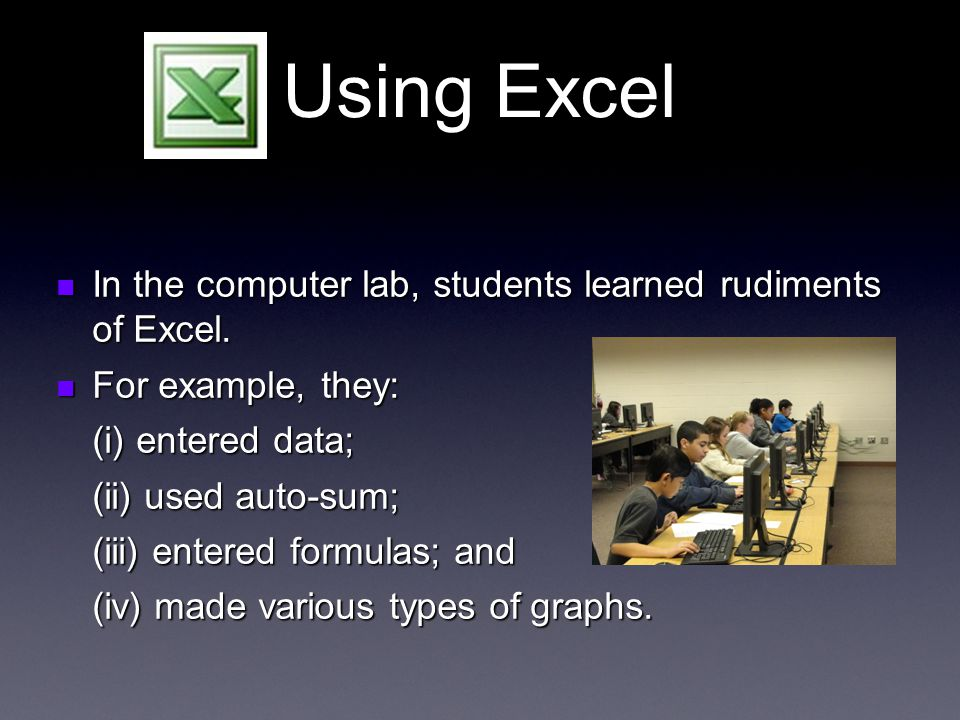 Using Excel In the computer lab, students learned rudiments of Excel.