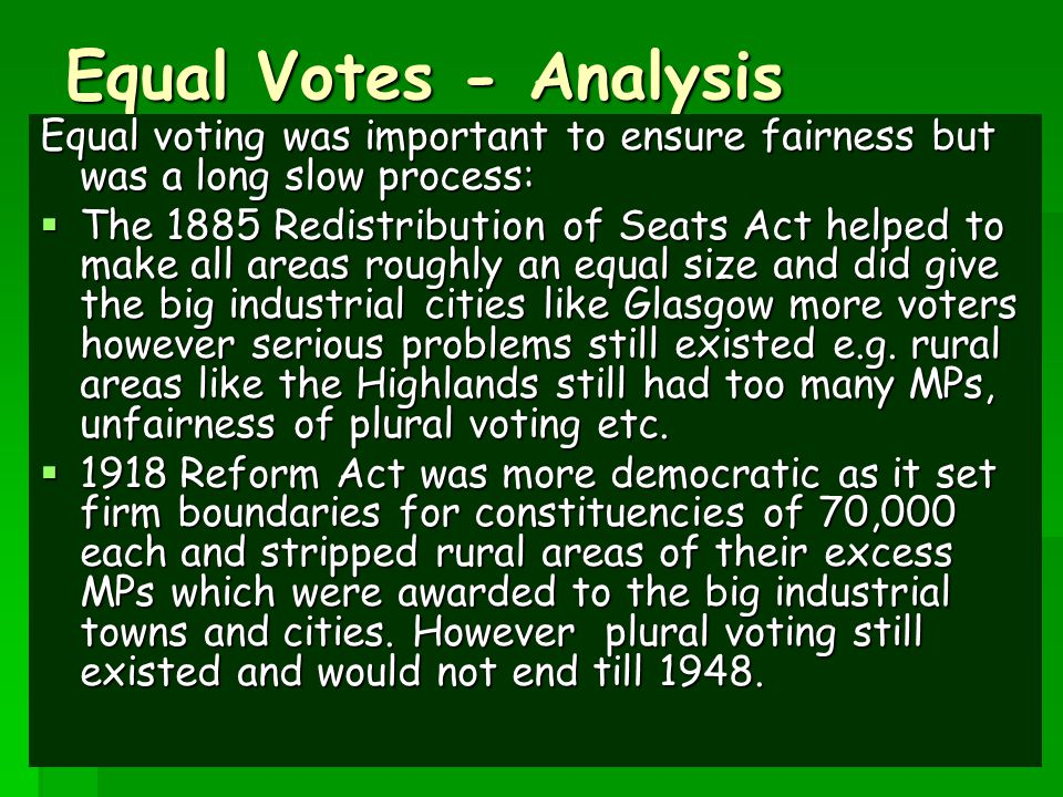18 Activity – Equal votes/constituencies.
