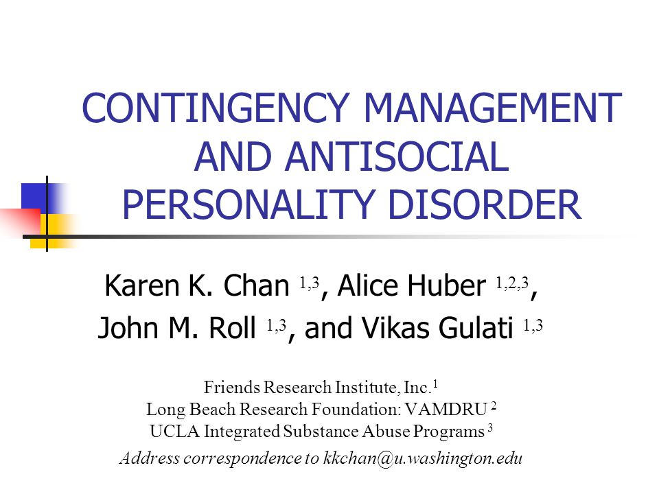 Abstract Contingency management (CM), a behavioral reinforcement technique, has been shown to be effective in the treatment of cocaine dependence, and there is emerging data on its effectiveness for methamphetamine (MA) dependence.
