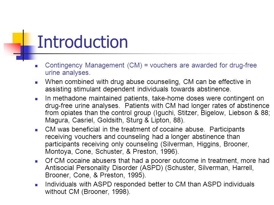 Conclusions CM significantly lengthened period of longest abstinence and improved TES.