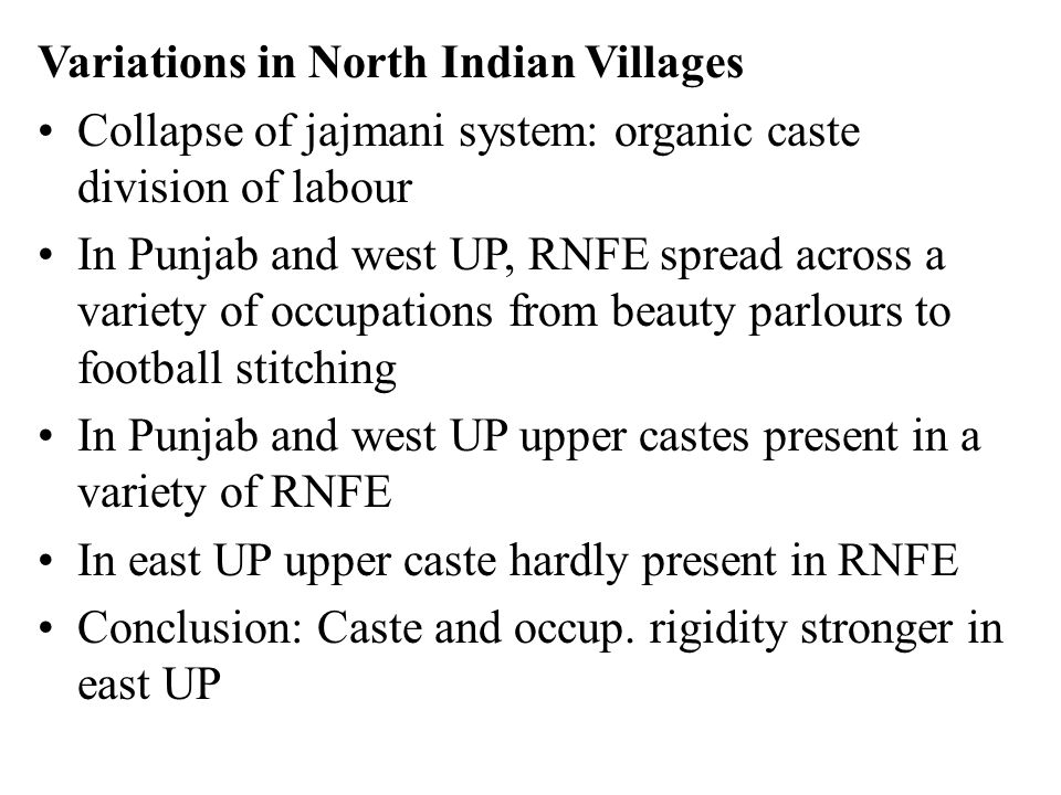 Variations in North Indian Villages Collapse of jajmani system: organic caste division of labour In Punjab and west UP, RNFE spread across a variety of occupations from beauty parlours to football stitching In Punjab and west UP upper castes present in a variety of RNFE In east UP upper caste hardly present in RNFE Conclusion: Caste and occup.