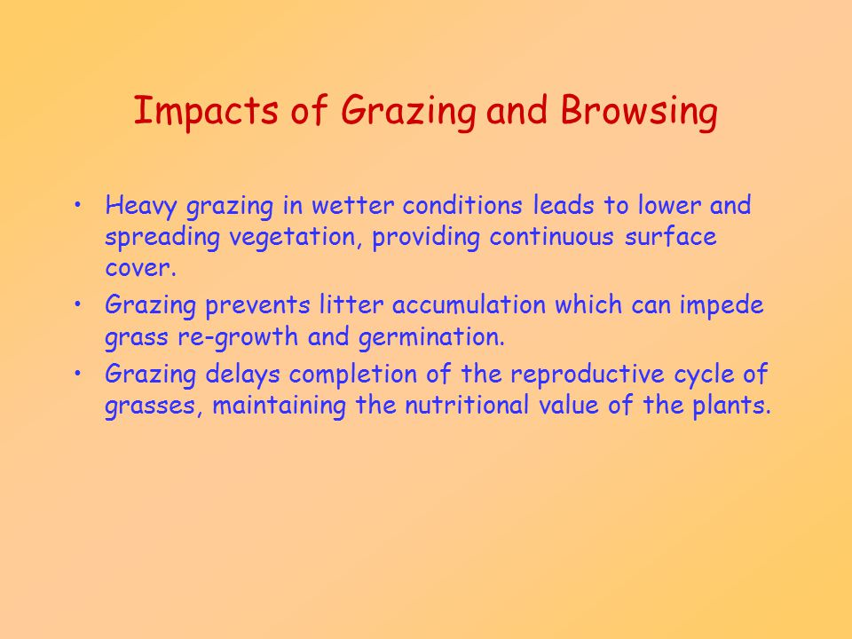 Impacts of Grazing and Browsing Heavy grazing in wetter conditions leads to lower and spreading vegetation, providing continuous surface cover. Grazin