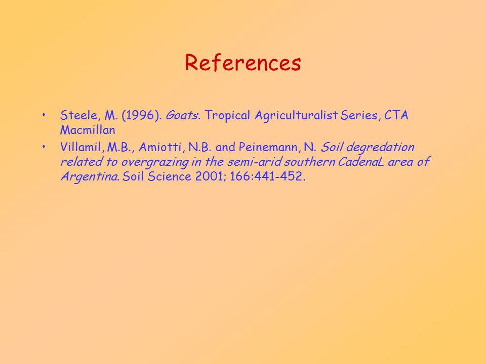 References Steele, M. (1996). Goats. Tropical Agriculturalist Series, CTA Macmillan Villamil, M.B., Amiotti, N.B. and Peinemann, N. Soil degredation r