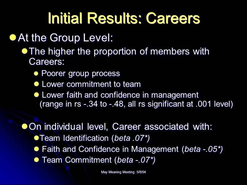 May Meaning Meeting 5/8/04 Initial Results: Careers At the Group Level: At the Group Level: The higher the proportion of members with Careers: The hig