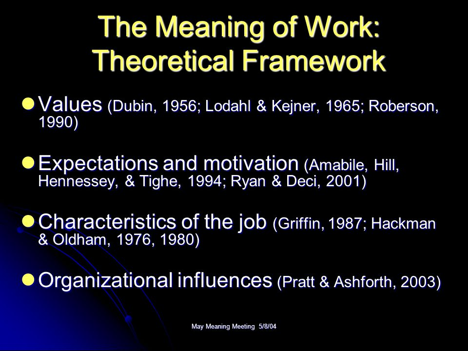 May Meaning Meeting 5/8/04 Measures Independent Variables  Work Orientation (Wrzesniewski et al., 1997)  Satisfaction with Work Elements (Andrews & Withey, 1976) Dependent Variables  Team Identification (Bhattacharya, 2001)  Group Process (Taylor & Bowers, 1972)  Faith and Confidence in Management (Cook & Wall, 1980)  Team Commitment (Mowday, Steers, & Porter, 1979)