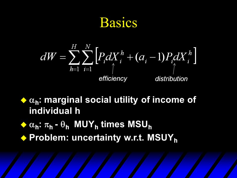 Basics   h : marginal social utility of income of individual h   h :  h -  h MUY h times MSU h  Problem: uncertainty w.r.t.