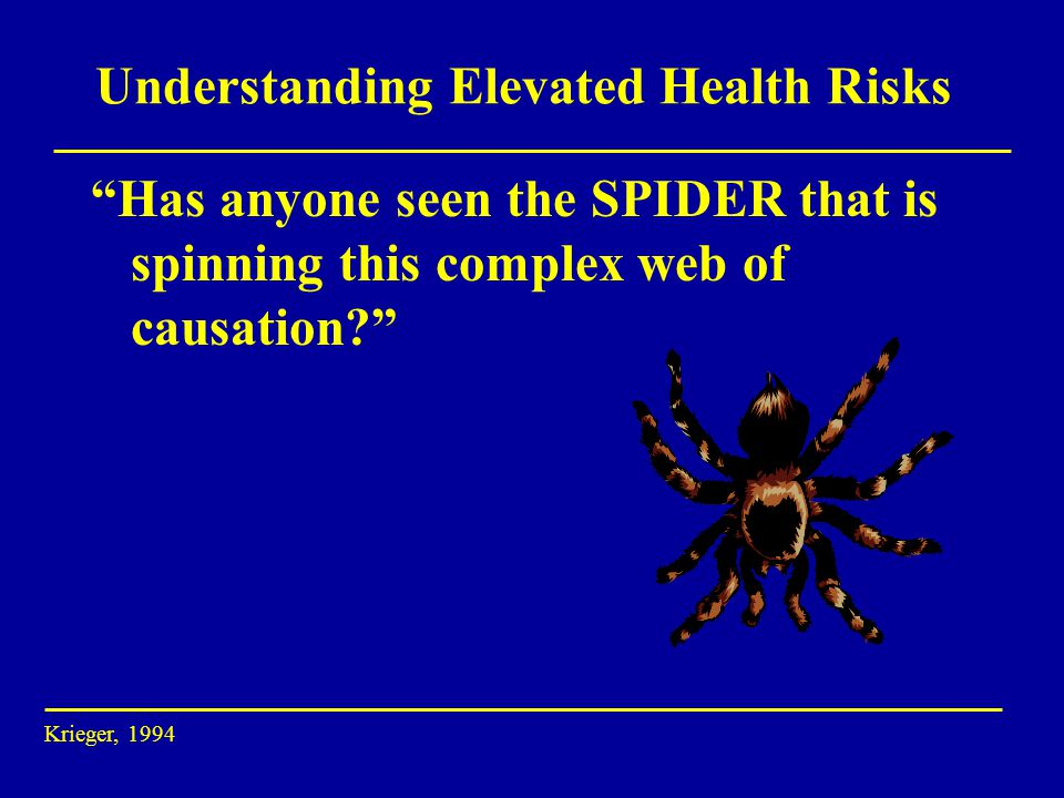 Understanding Elevated Health Risks Has anyone seen the SPIDER that is spinning this complex web of causation Krieger, 1994