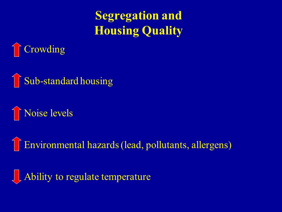 Segregation and Housing Quality Crowding Sub-standard housing Noise levels Environmental hazards (lead, pollutants, allergens) Ability to regulate temperature