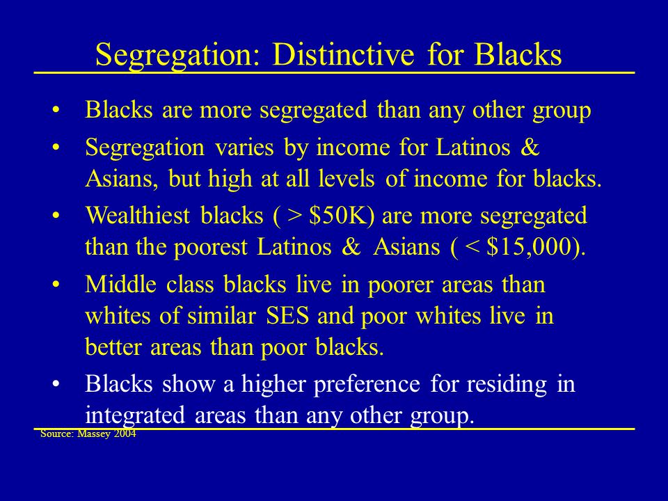 Segregation: Distinctive for Blacks Blacks are more segregated than any other group Segregation varies by income for Latinos & Asians, but high at all levels of income for blacks.