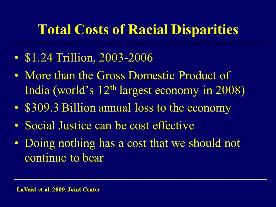 Total Costs of Racial Disparities $1.24 Trillion, 2003-2006 More than the Gross Domestic Product of India (world's 12 th largest economy in 2008) $309.3 Billion annual loss to the economy Social Justice can be cost effective Doing nothing has a cost that we should not continue to bear LaVeist et al.