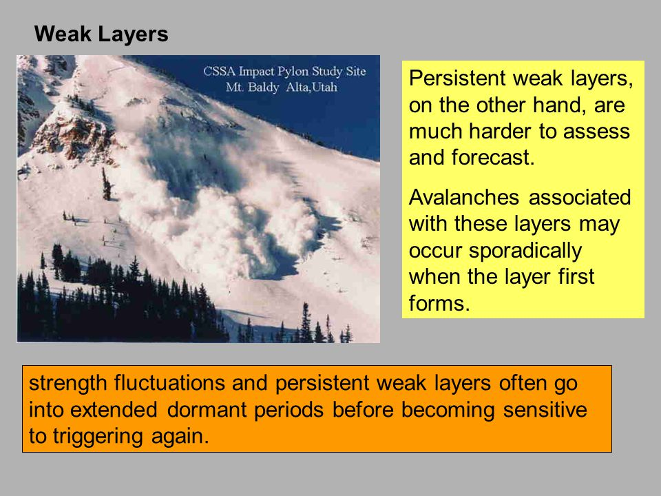 Persistent weak layers, on the other hand, are much harder to assess and forecast.