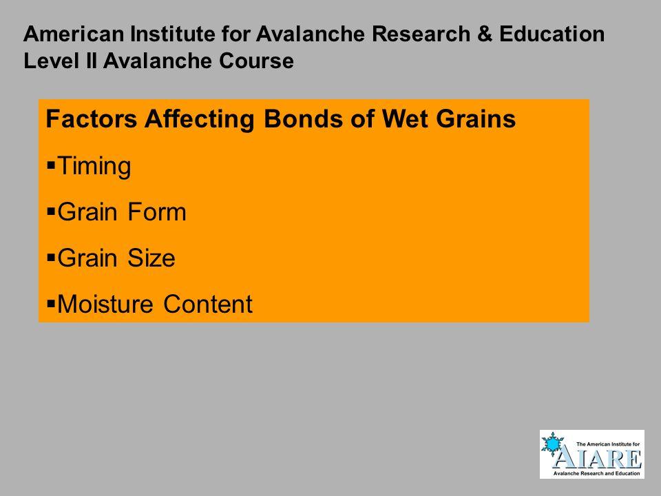 American Institute for Avalanche Research & Education Level II Avalanche Course Factors Affecting Bonds of Wet Grains  Timing  Grain Form  Grain Size  Moisture Content