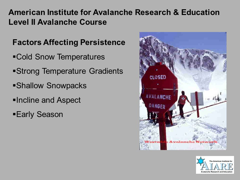 American Institute for Avalanche Research & Education Level II Avalanche Course Factors Affecting Persistence  Cold Snow Temperatures  Strong Temperature Gradients  Shallow Snowpacks  Incline and Aspect  Early Season