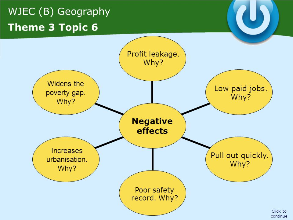 WJEC (B) Geography Theme 3 Topic 6 Negative effects Click to continue Profit leakage. Why? Low paid jobs. Why? Pull out quickly. Why? Poor safety reco