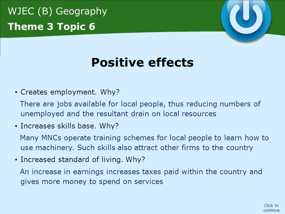 WJEC (B) Geography Theme 3 Topic 6 Raises country's profile.