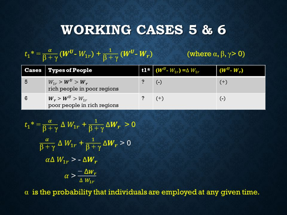 WORKING CASES 5 & 6 CasesTypes of Peoplet1* 5?(-)(+) 6? (-)