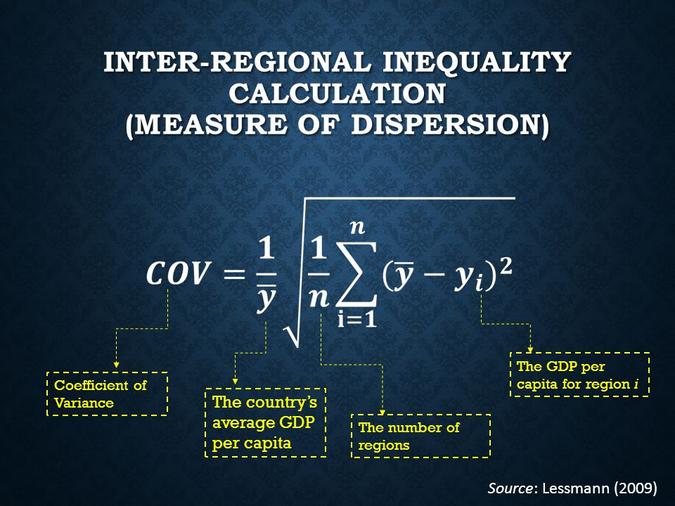 INTER-REGIONAL INEQUALITY CALCULATION (MEASURE OF DISPERSION) Coefficient of Variance The country's average GDP per capita The number of regions The GDP per capita for region i Source: Lessmann (2009)