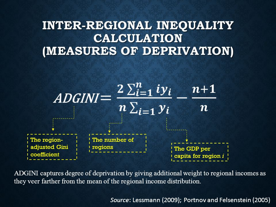 INTER-REGIONAL INEQUALITY CALCULATION (MEASURES OF DEPRIVATION) The region- adjusted Gini coefficient The number of regions The GDP per capita for region i Source: Lessmann (2009); Portnov and Felsenstein (2005) ADGINI captures degree of deprivation by giving additional weight to regional incomes as they veer farther from the mean of the regional income distribution.