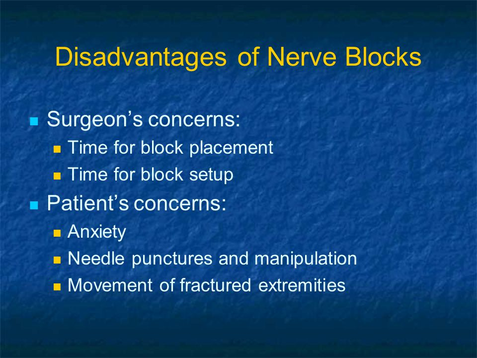 Disadvantages of Nerve Blocks Anesthesiologist's concerns Failed blocks Complications Nerve damage Toxicity Infection Hematoma