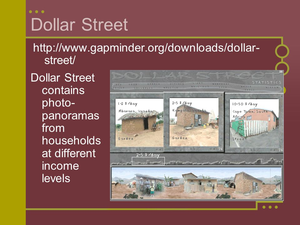 Dollar Street Dollar Street contains photo- panoramas from households at different income levels http://www.gapminder.org/downloads/dollar- street/
