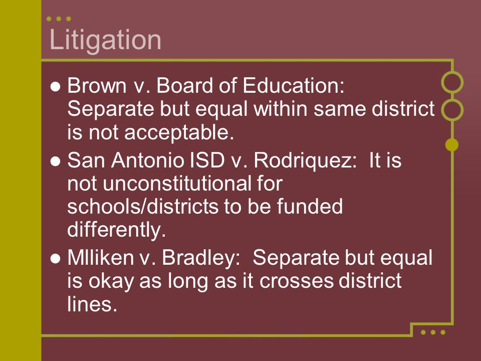 Litigation Brown v. Board of Education: Separate but equal within same district is not acceptable.