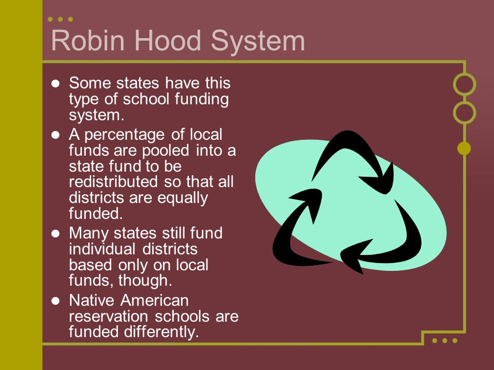 Robin Hood System Some states have this type of school funding system.