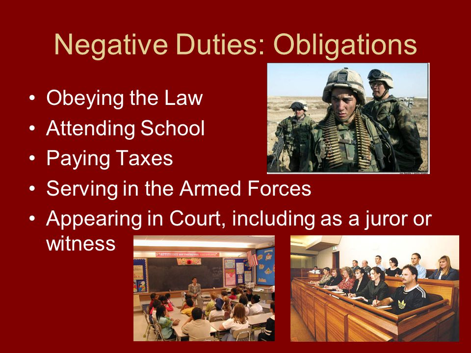 Negative Duties: Obligations Obeying the Law Attending School Paying Taxes Serving in the Armed Forces Appearing in Court, including as a juror or witness