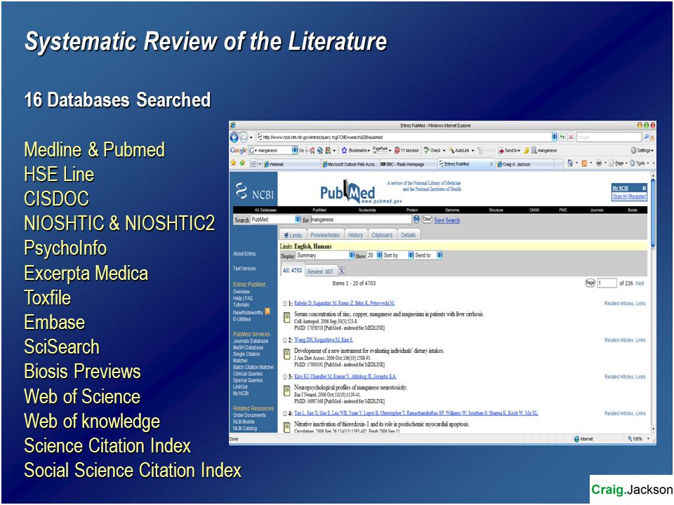 Systematic Review of the Literature 16 Databases Searched Medline & Pubmed HSE Line CISDOC NIOSHTIC & NIOSHTIC2 PsychoInfo Excerpta Medica ToxfileEmbaseSciSearch Biosis Previews Web of Science Web of knowledge Science Citation Index Social Science Citation Index