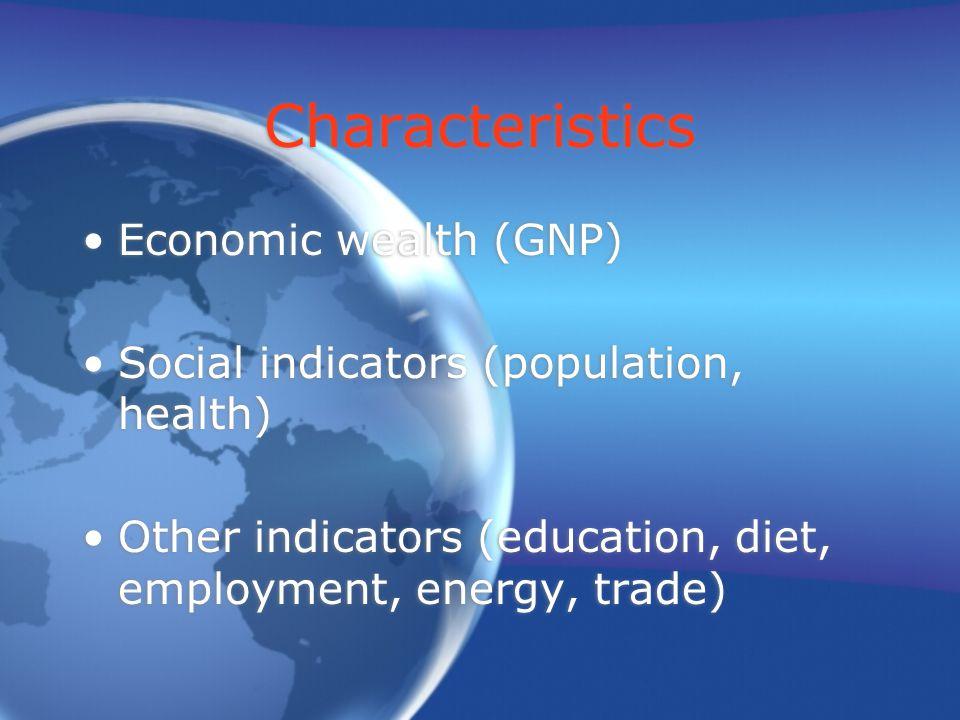 Characteristics Economic wealth (GNP) Social indicators (population, health) Other indicators (education, diet, employment, energy, trade) Economic wealth (GNP) Social indicators (population, health) Other indicators (education, diet, employment, energy, trade)