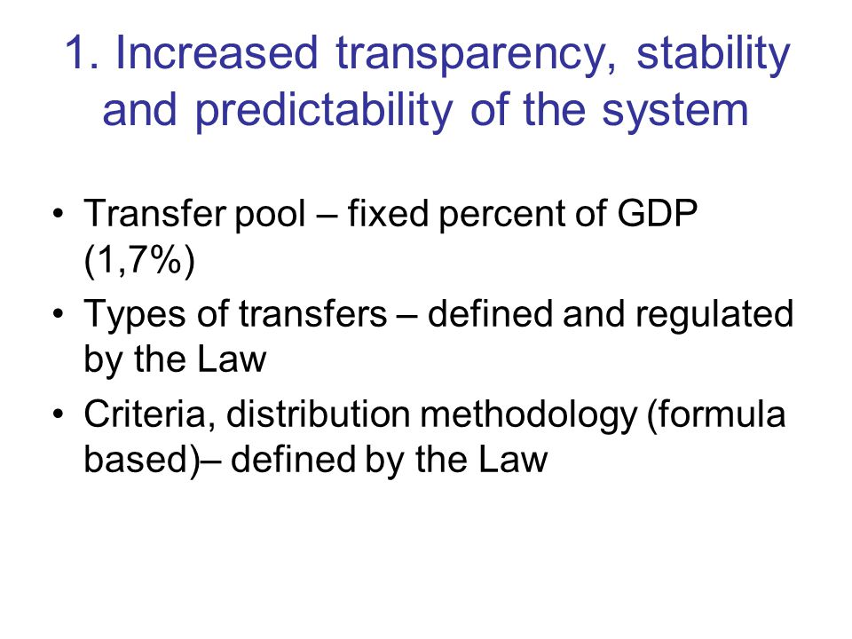 NEXT STEPS (3) Collect and analyze best practices from other countries Propose efficient and transparent model for distribution of earmarked transfers All interested stakeholders must be included in the Program : –Relevant ministries –Local government –Local and foreign experts