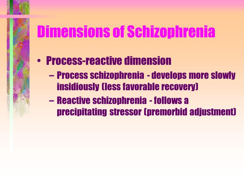 Dimensions of Schizophrenia Process-reactive dimension –Process schizophrenia - develops more slowly insidiously (less favorable recovery) –Reactive schizophrenia - follows a precipitating stressor (premorbid adjustment)