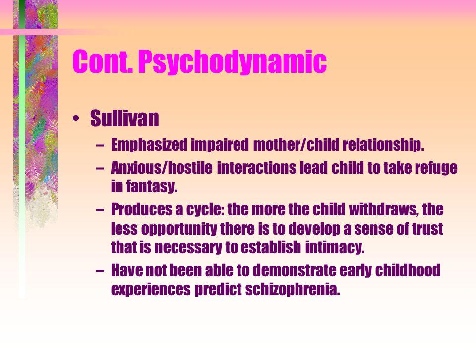Cont.Psychodynamic Sullivan –Emphasized impaired mother/child relationship.