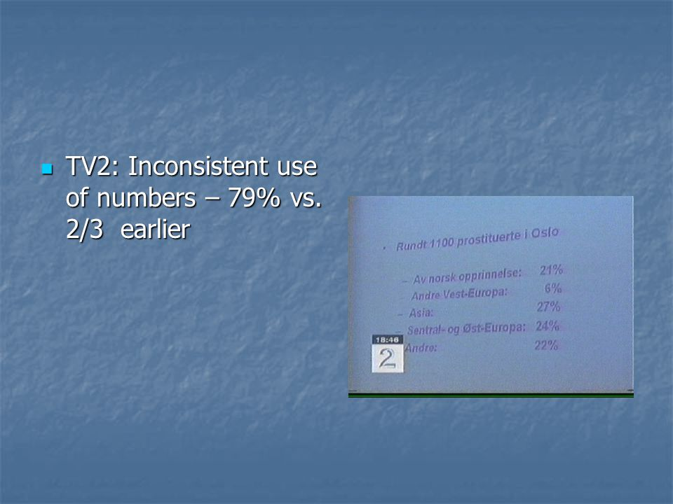 TV2: Inconsistent use of numbers – 79% vs. 2/3 earlier TV2: Inconsistent use of numbers – 79% vs.