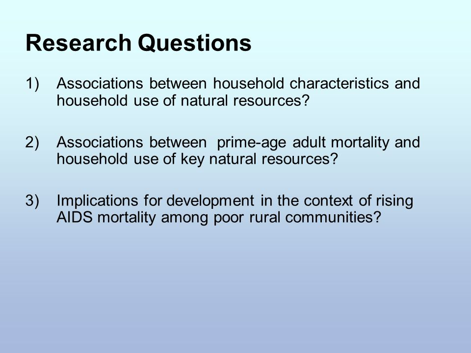 Research Questions 1)Associations between household characteristics and household use of natural resources? 2) Associations between prime-age adult mo