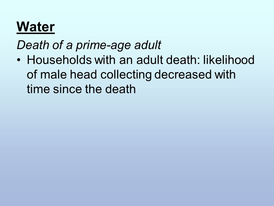 Water Death of a prime-age adult Households with an adult death: likelihood of male head collecting decreased with time since the death