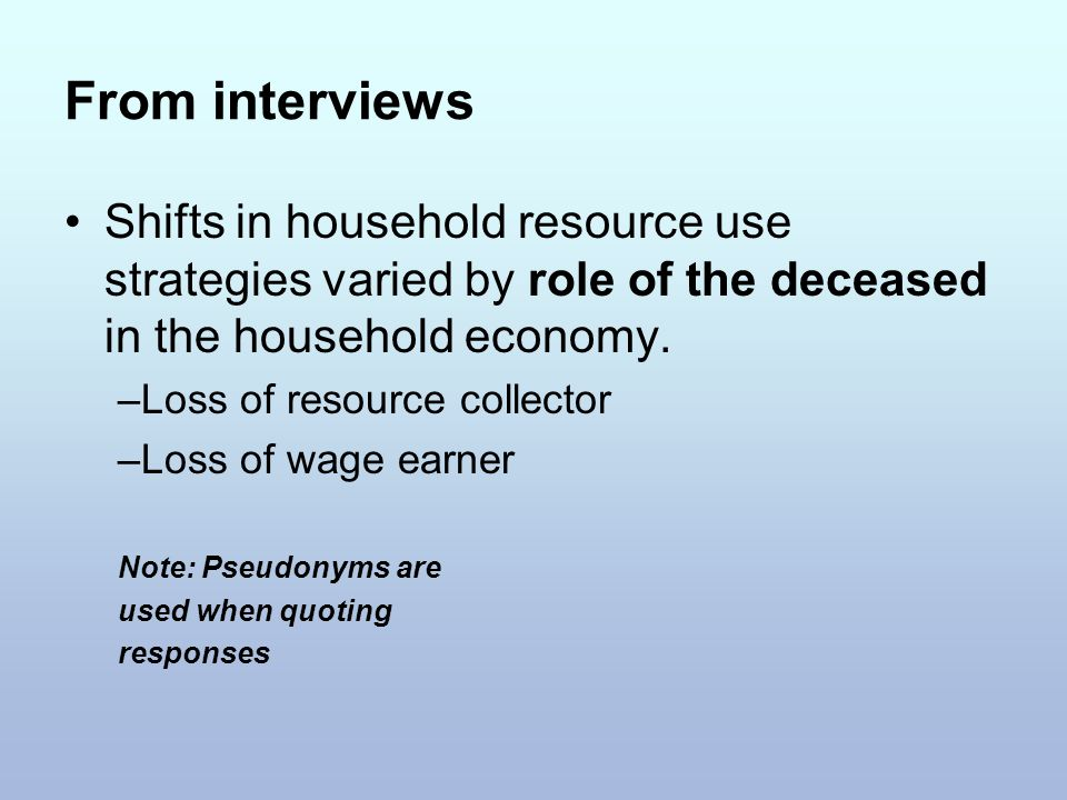 From interviews Shifts in household resource use strategies varied by role of the deceased in the household economy.
