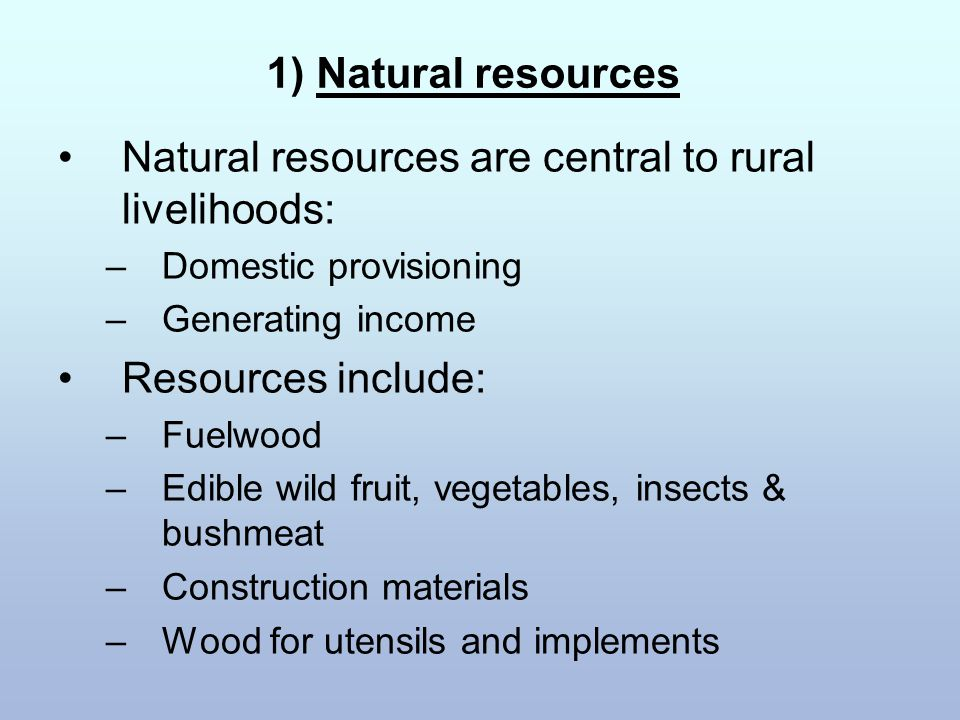1) Natural resources Natural resources are central to rural livelihoods: –Domestic provisioning –Generating income Resources include: –Fuelwood –Edible wild fruit, vegetables, insects & bushmeat –Construction materials –Wood for utensils and implements