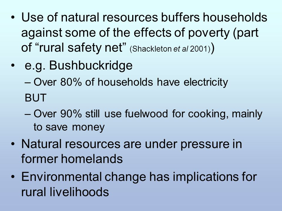 "Use of natural resources buffers households against some of the effects of poverty (part of ""rural safety net"" (Shackleton et al 2001) ) e.g. Bushbuck"