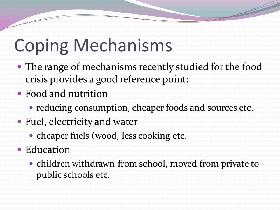 Coping Mechanisms The range of mechanisms recently studied for the food crisis provides a good reference point: Food and nutrition reducing consumption, cheaper foods and sources etc.