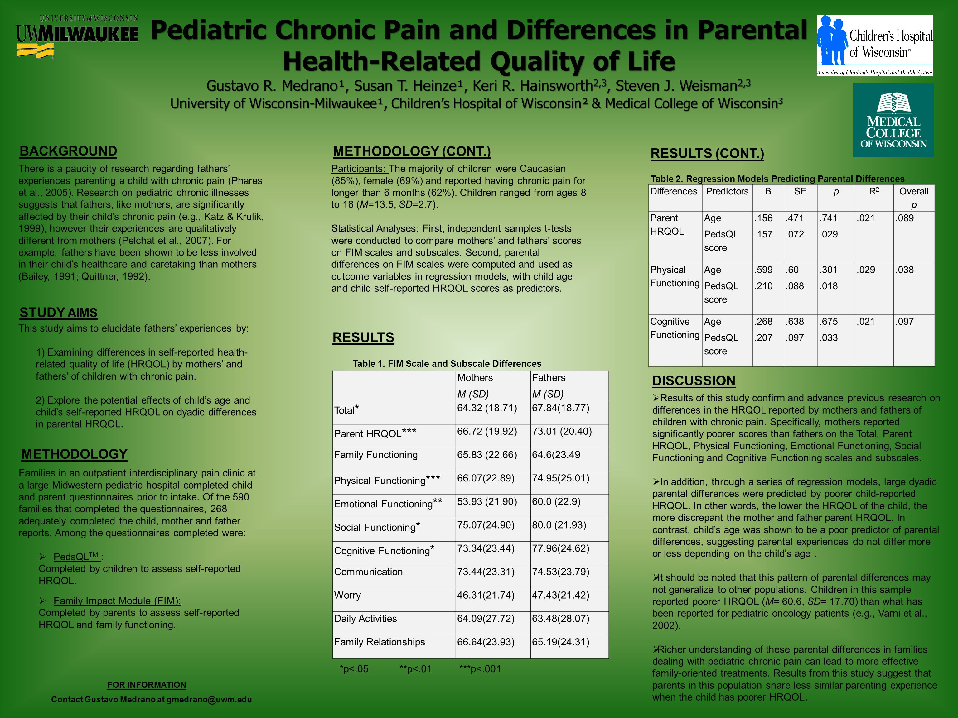 Pediatric Chronic Pain and Differences in Parental Health-Related Quality of Life Gustavo R. Medrano¹, Susan T. Heinze¹, Keri R. Hainsworth 2,3, Steve