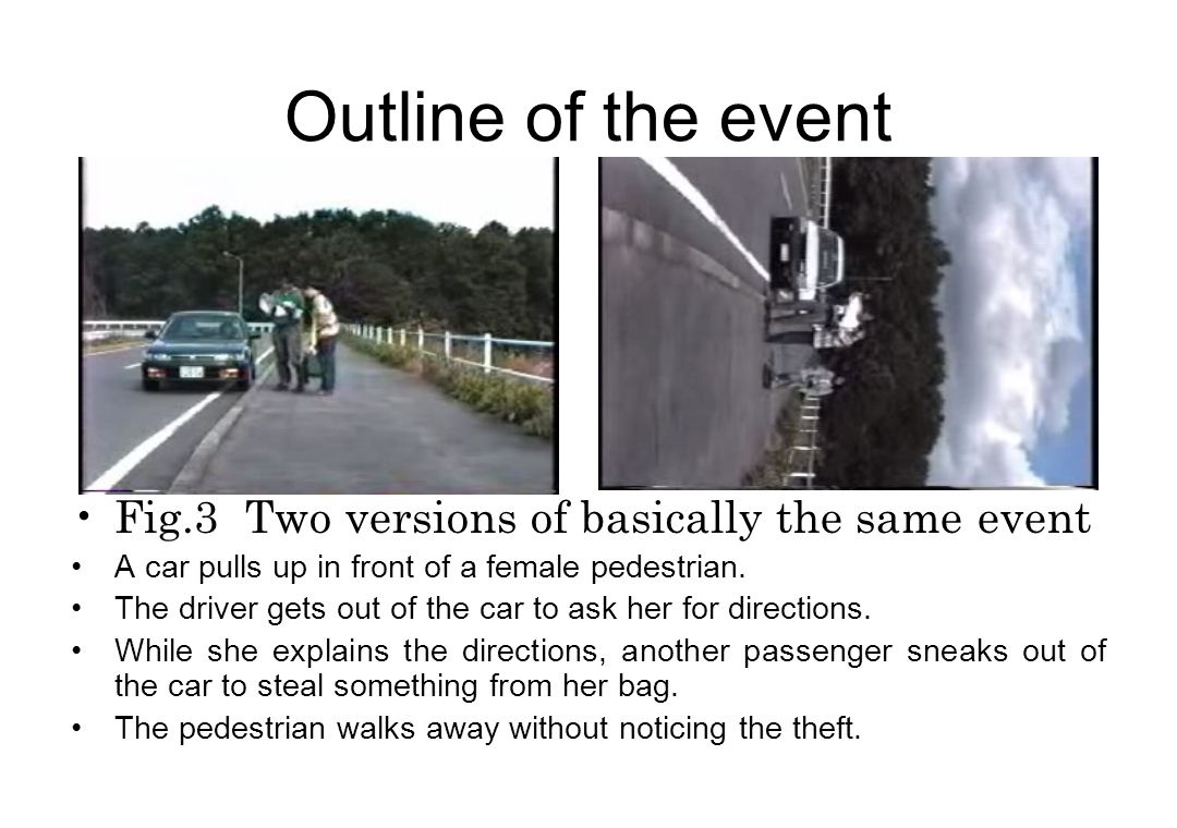 Outline of the event Fig.3 Two versions of basically the same event A car pulls up in front of a female pedestrian.