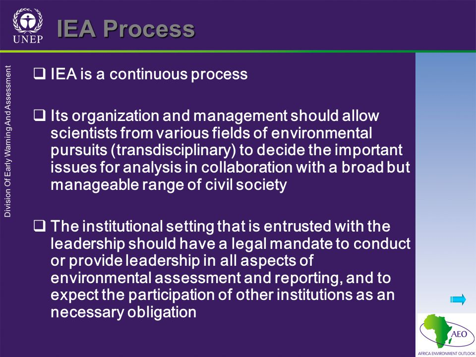 Division Of Early Warning And Assessment IEA Process  IEA is a continuous process  Its organization and management should allow scientists from various fields of environmental pursuits (transdisciplinary) to decide the important issues for analysis in collaboration with a broad but manageable range of civil society  The institutional setting that is entrusted with the leadership should have a legal mandate to conduct or provide leadership in all aspects of environmental assessment and reporting, and to expect the participation of other institutions as an necessary obligation