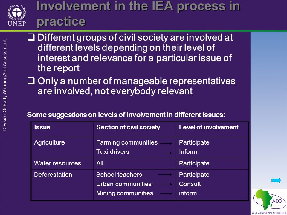 Division Of Early Warning And Assessment Involvement in the IEA process in practice  Different groups of civil society are involved at different leve