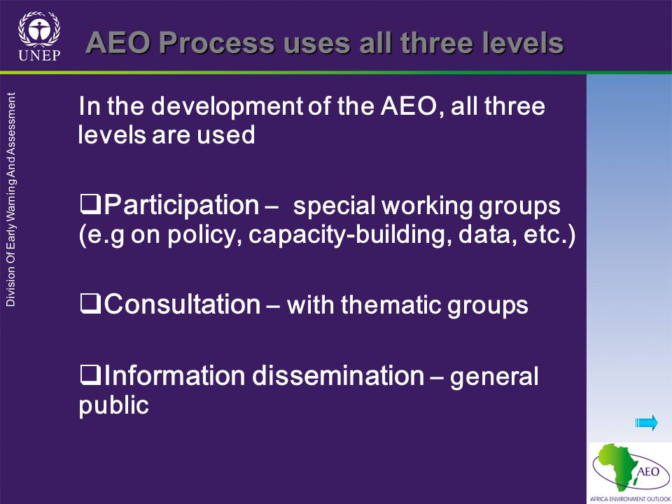Division Of Early Warning And Assessment AEO Process uses all three levels In the development of the AEO, all three levels are used  Participation – special working groups (e.g on policy, capacity-building, data, etc.)  Consultation – with thematic groups  Information dissemination – general public