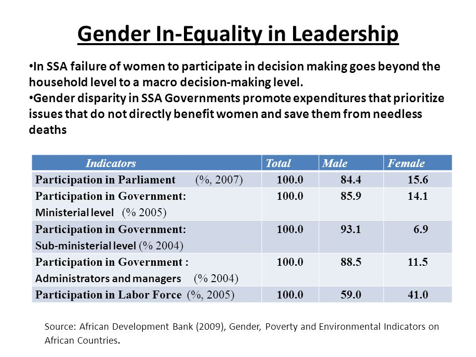 Gender In-Equality in Leadership IndicatorsTotalMaleFemale Participation in Parliament (%, 2007)100.084.415.6 Participation in Government: Ministerial level (% 2005) 100.085.914.1 Participation in Government: S ub-ministerial level (% 2004) 100.093.1 6.9 Participation in Government : Administrators and managers (% 2004) 100.088.511.5 Participation in Labor Force (%, 2005)100.059.041.0 Source: African Development Bank (2009), Gender, Poverty and Environmental Indicators on African Countries.