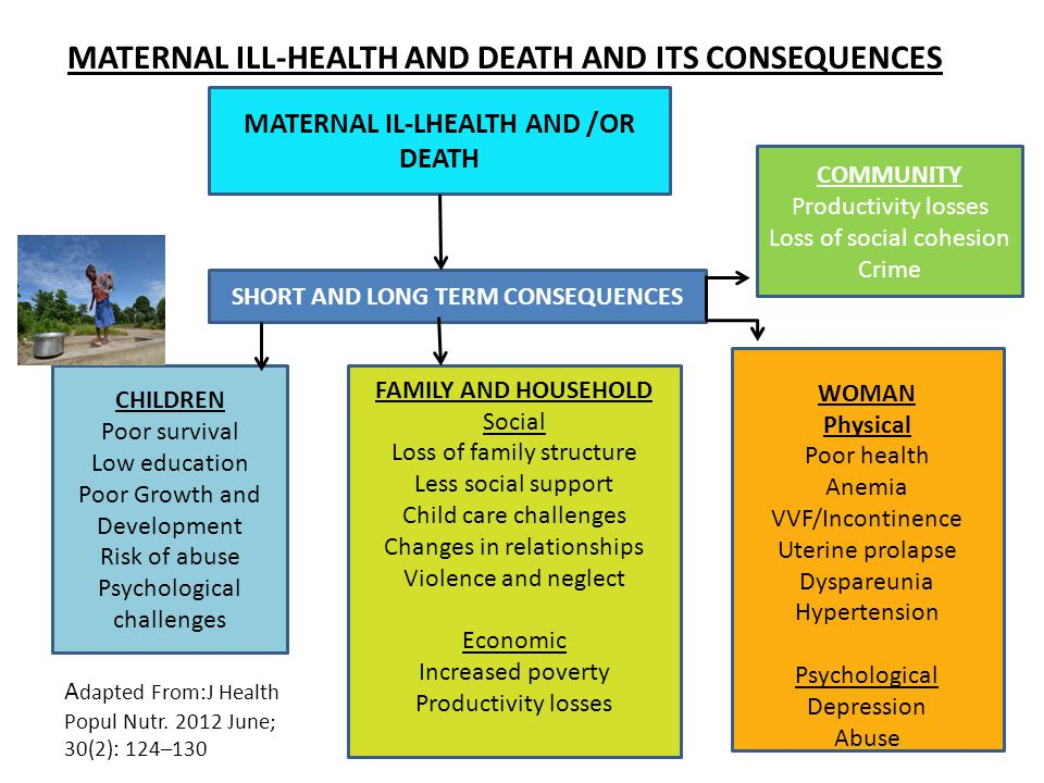 MATERNAL ILL-HEALTH AND DEATH AND ITS CONSEQUENCES MATERNAL IL-LHEALTH AND /OR DEATH SHORT AND LONG TERM CONSEQUENCES CHILDREN Poor survival Low education Poor Growth and Development Risk of abuse Psychological challenges FAMILY AND HOUSEHOLD Social Loss of family structure Less social support Child care challenges Changes in relationships Violence and neglect Economic Increased poverty Productivity losses WOMAN Physical Poor health Anemia VVF/Incontinence Uterine prolapse Dyspareunia Hypertension Psychological Depression Abuse COMMUNITY Productivity losses Loss of social cohesion Crime A dapted From:J Health Popul Nutr.