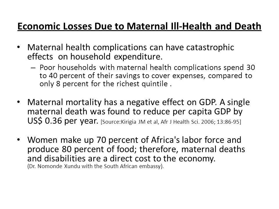 Economic Losses Due to Maternal Ill-Health and Death Maternal health complications can have catastrophic effects on household expenditure.